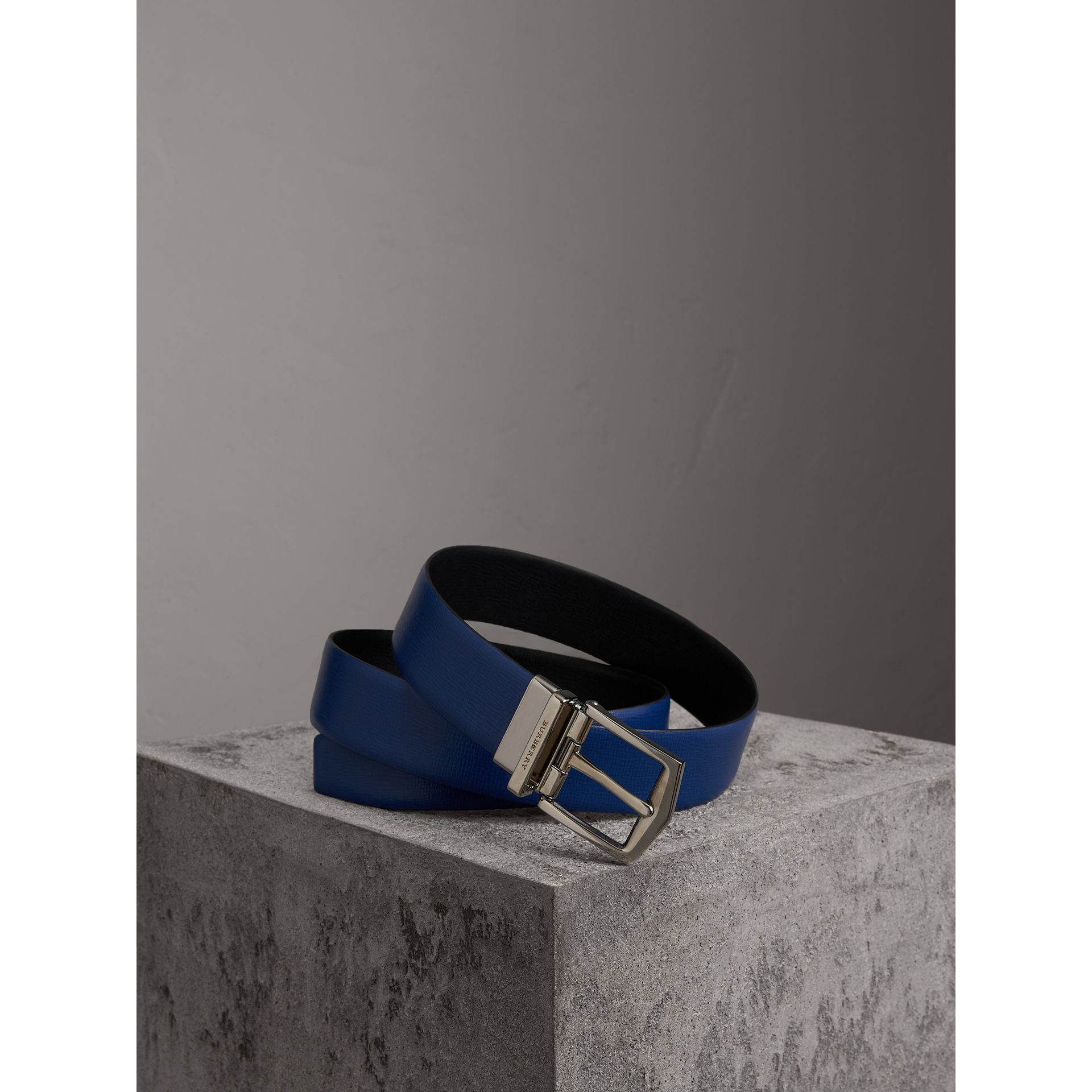 Reversible London Leather Belt in Deep Blue/black - Men | Burberry - gallery image 0
