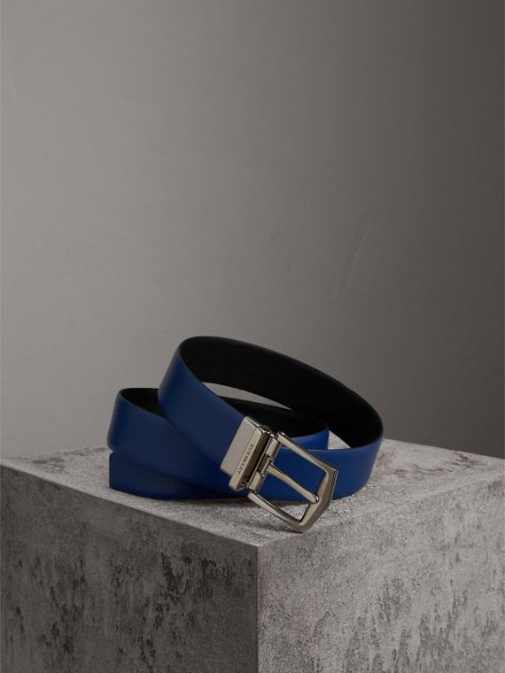 Reversible London Leather Belt in Deep Blue/black