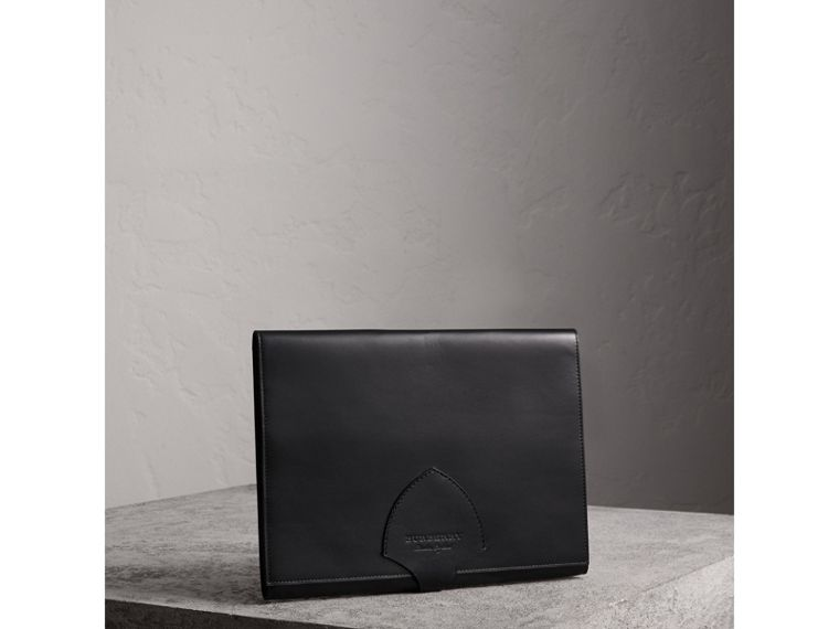 Equestrian Shield Leather A4 Document Case in Black - Men | Burberry Canada - cell image 4