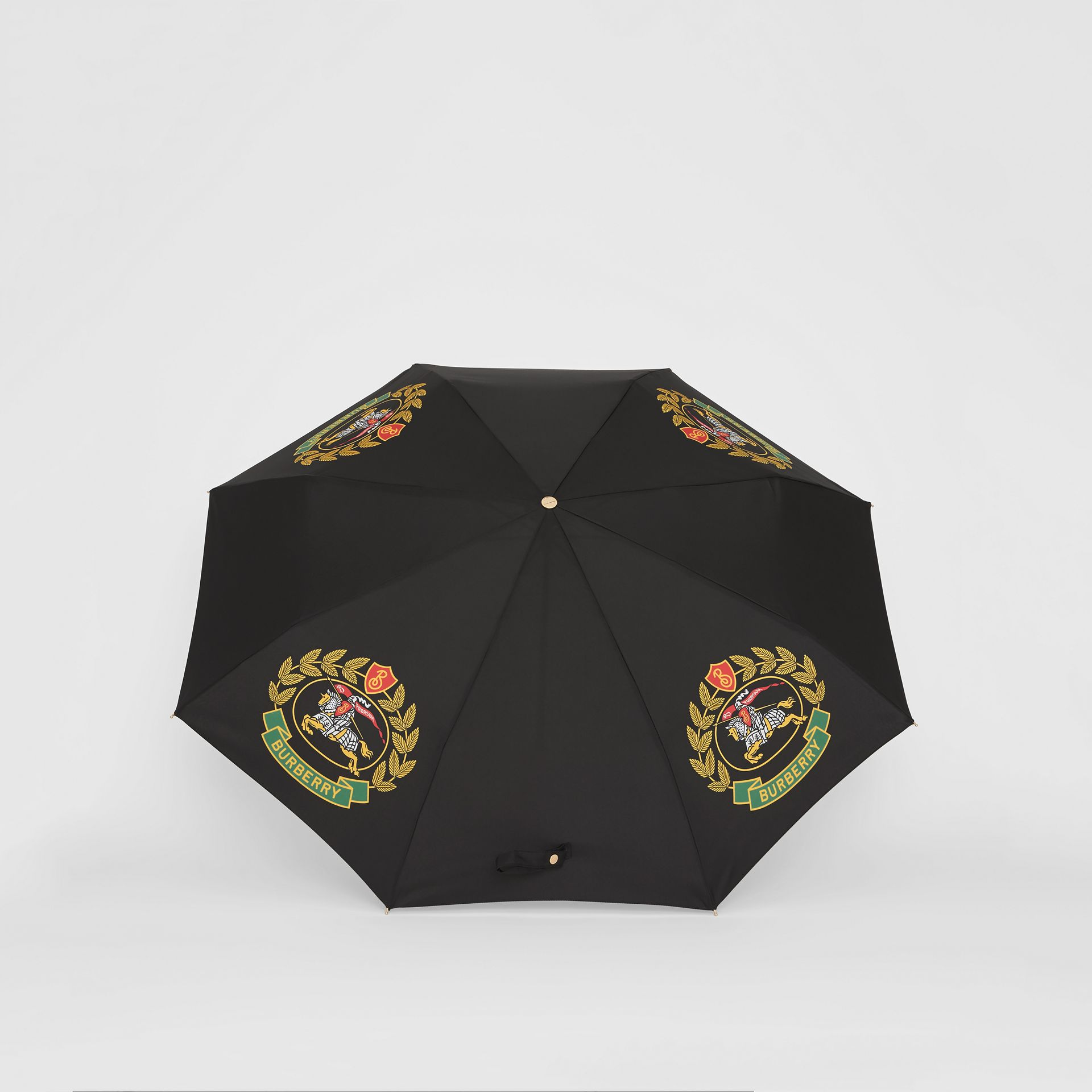 Crest Print Folding Umbrella in Black | Burberry - gallery image 2