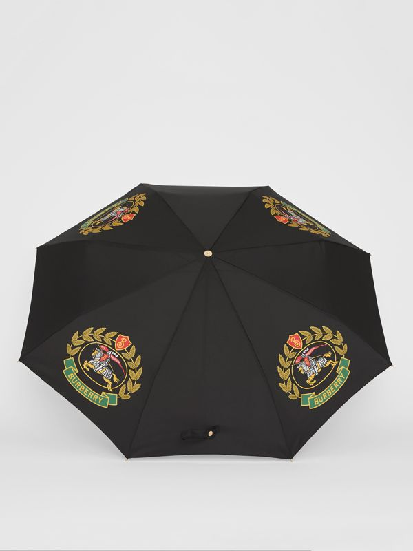 Crest Print Folding Umbrella in Black | Burberry - cell image 2