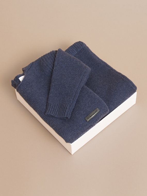 Cashmere Two-piece Baby Gift Set in Mineral Blue | Burberry Canada - cell image 3
