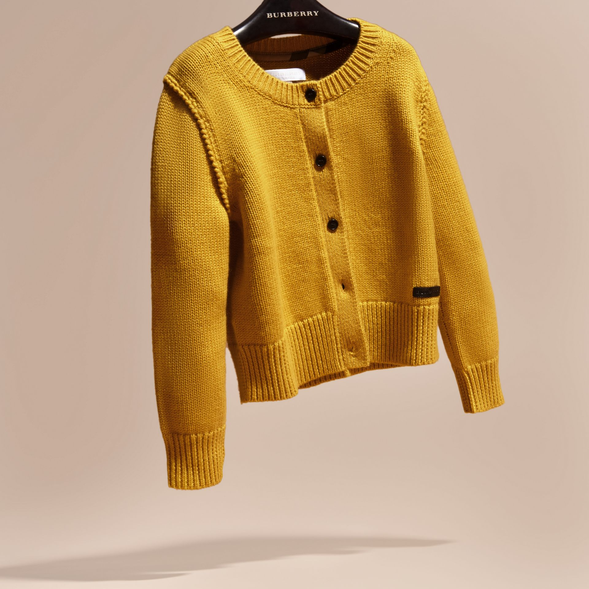 Ochre yellow Cashmere Cotton Cardigan Ochre Yellow - gallery image 3