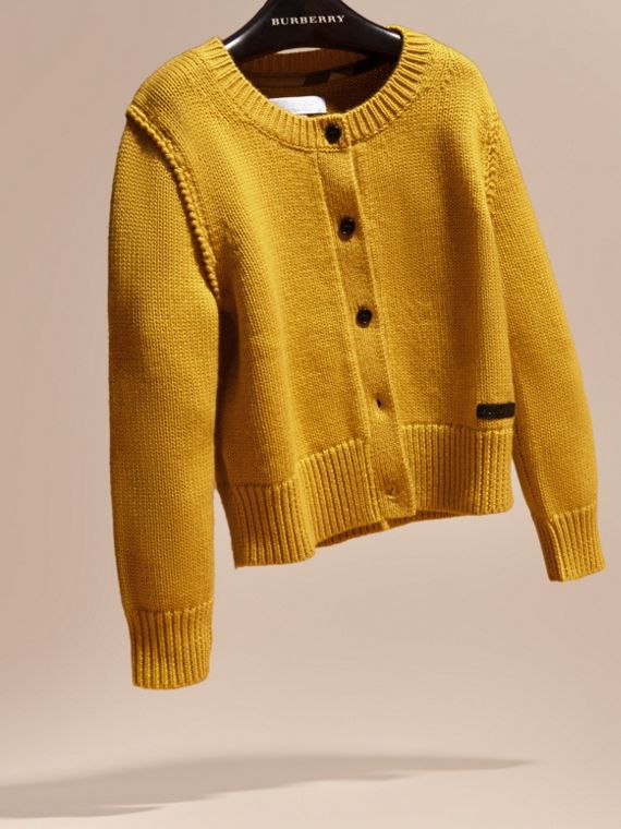 Ochre yellow Cashmere Cotton Cardigan Ochre Yellow - cell image 2