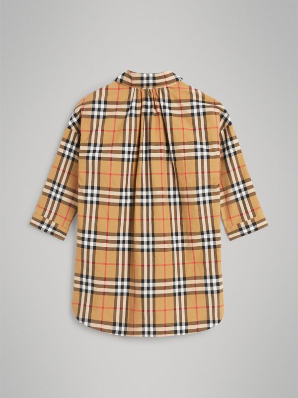 Vintage Check Shirt Dress in Antique Yellow | Burberry - cell image 3