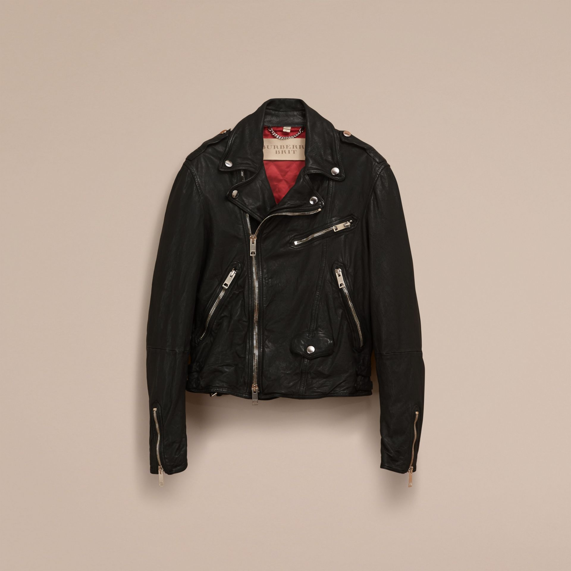 Black Washed Lambskin Biker Jacket - gallery image 4