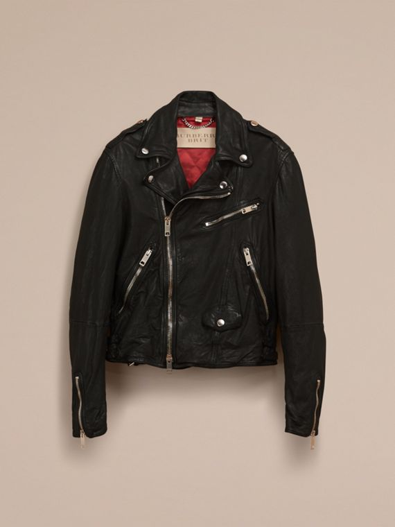 Black Washed Lambskin Biker Jacket - cell image 3
