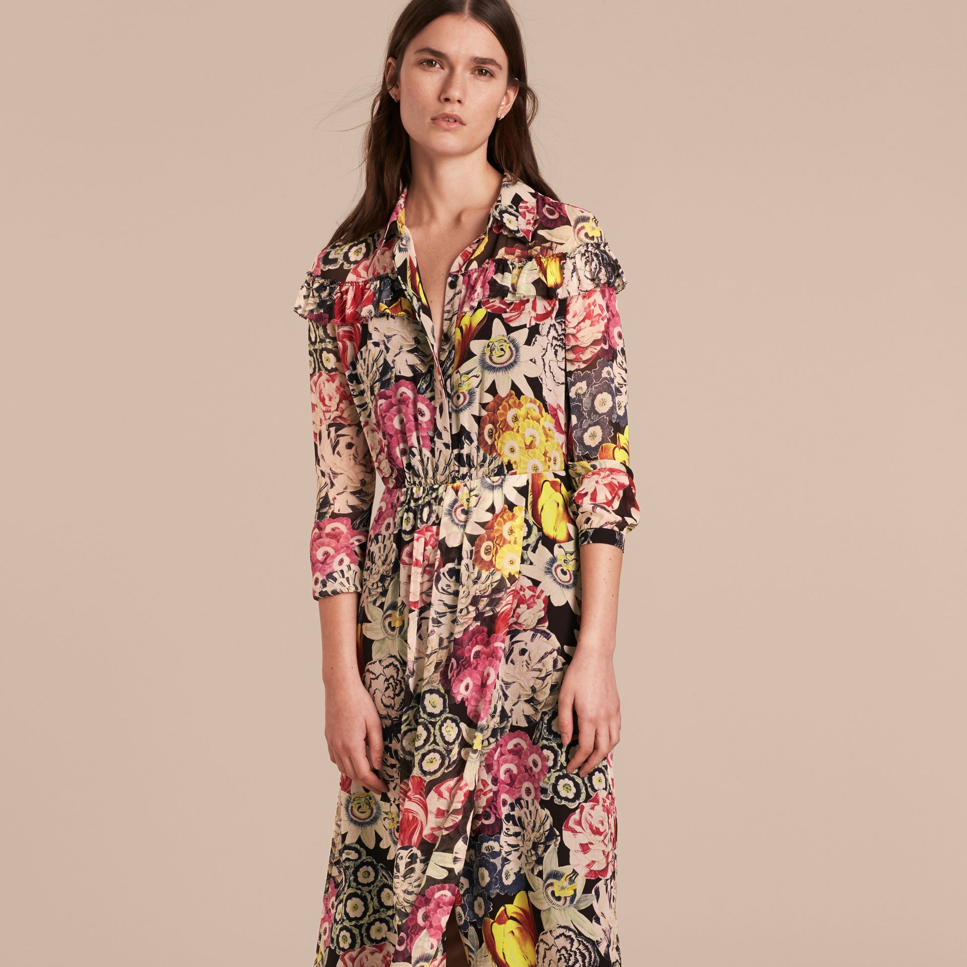 Painterly Floral Print Silk Georgette Frill Detail Dress - gallery image 6