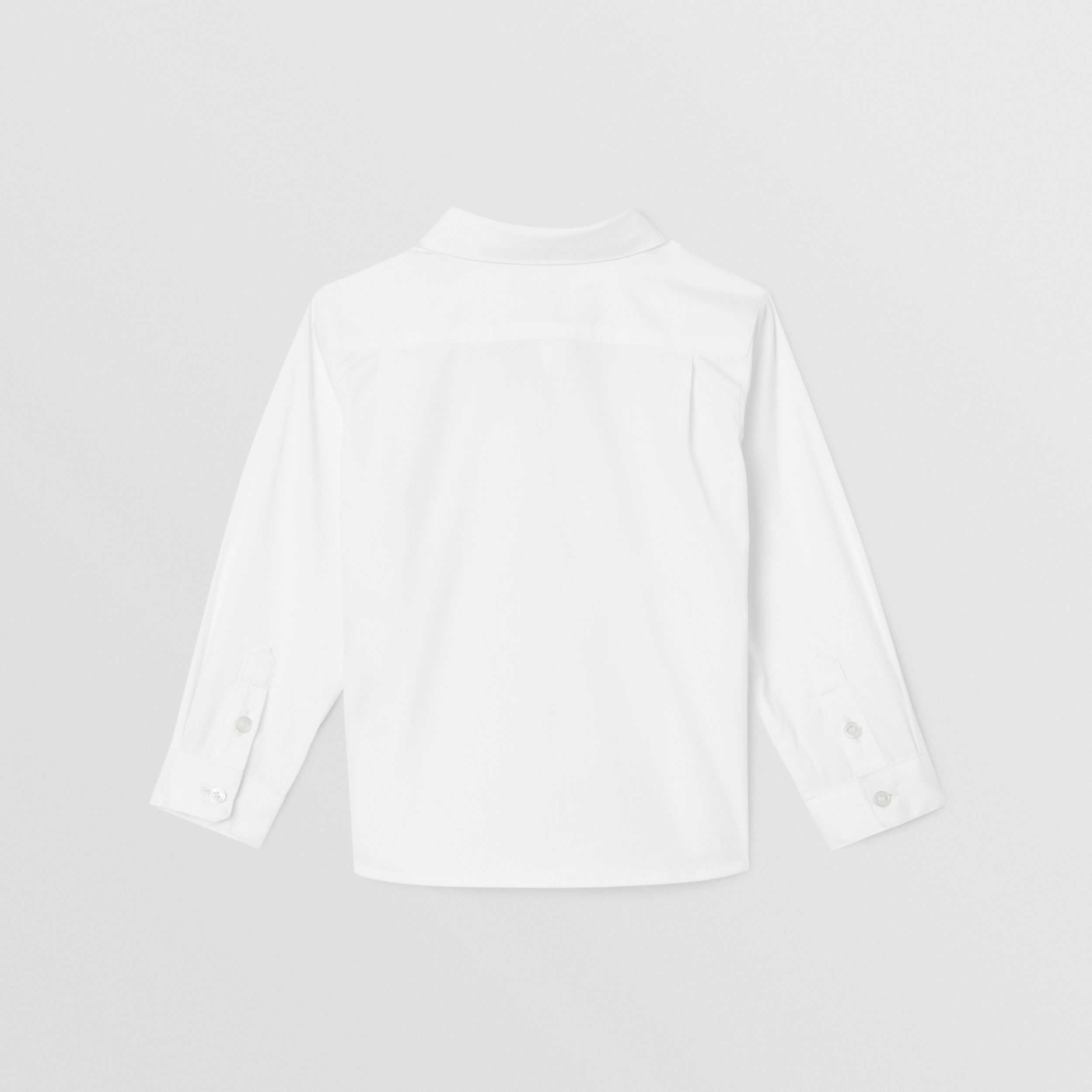 Icon Stripe Trim Stretch Cotton Shirt in White - Children | Burberry Hong Kong S.A.R. - 4