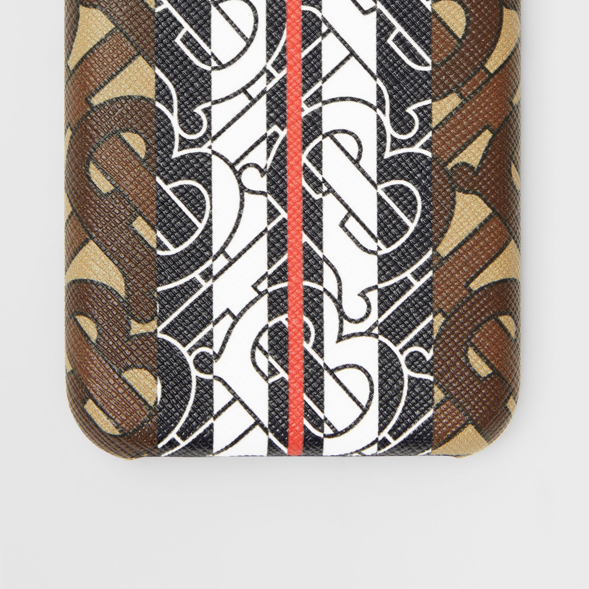 Leather and Monogram Stripe E-canvas iPhone X/XS Case in Bridle Brown | Burberry - gallery image 1