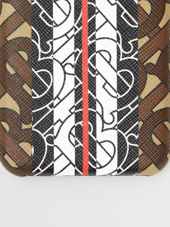 Leather and Monogram Stripe E-canvas iPhone X/XS Case in Bridle Brown | Burberry - cell image 1