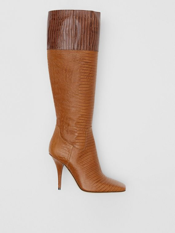 Embossed Leather Panelled Boots in Dark Brown/cedar Brown