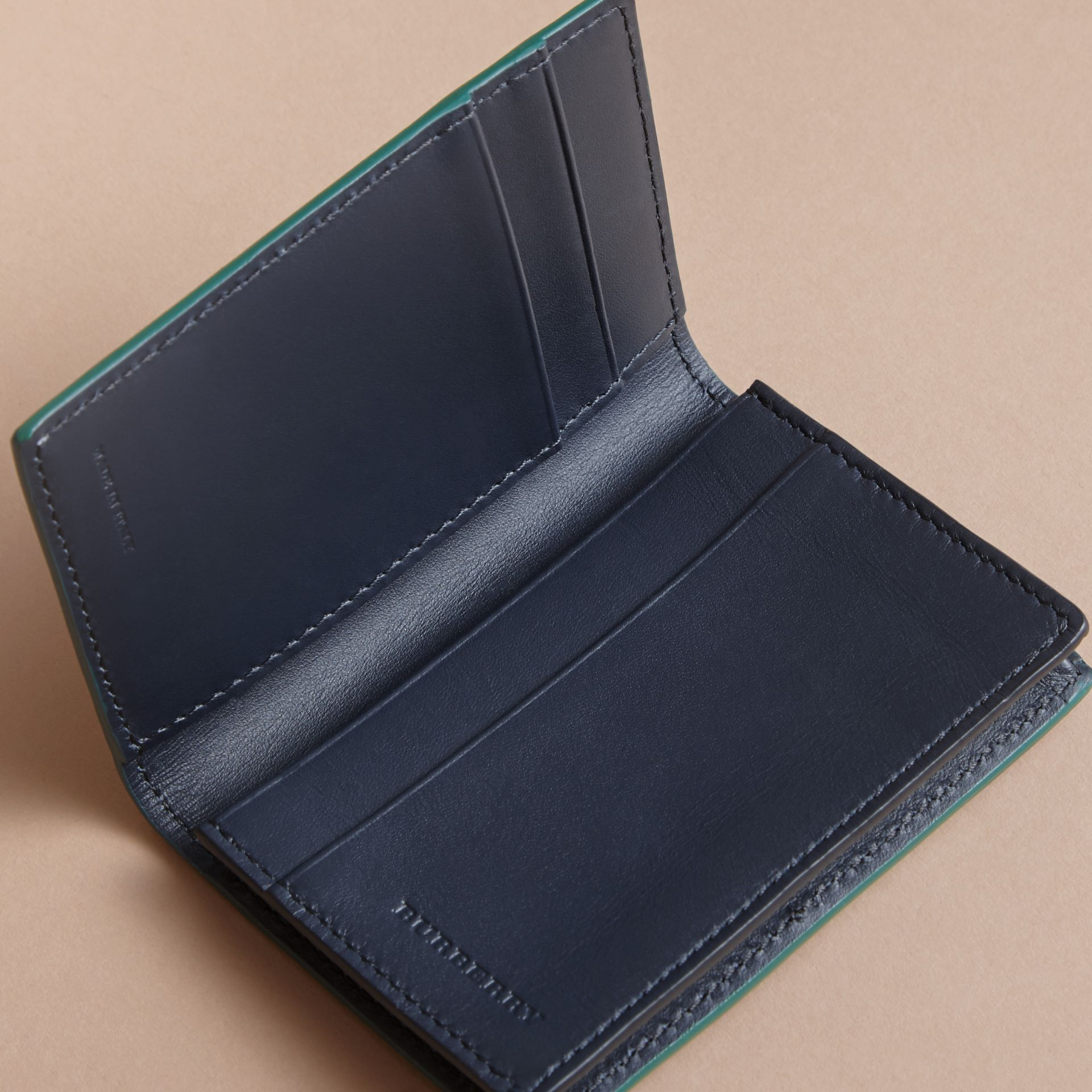 London Leather Folding Card Case in Dark Teal | Burberry Canada - gallery image 4