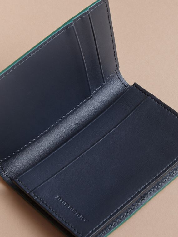 London Leather Folding Card Case in Dark Teal | Burberry Canada - cell image 3