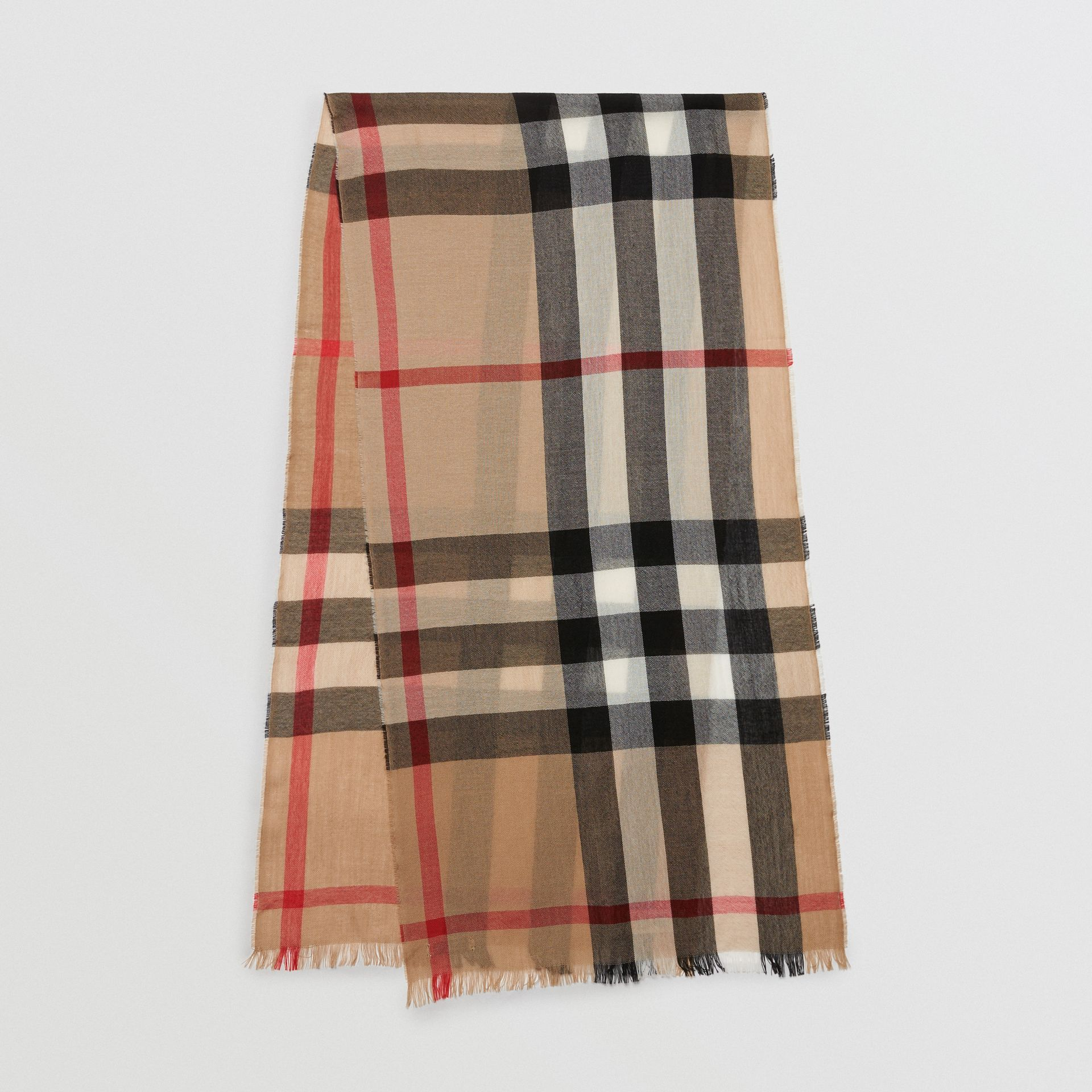 Lightweight Check Wool Cashmere Scarf in Camel | Burberry - gallery image 0