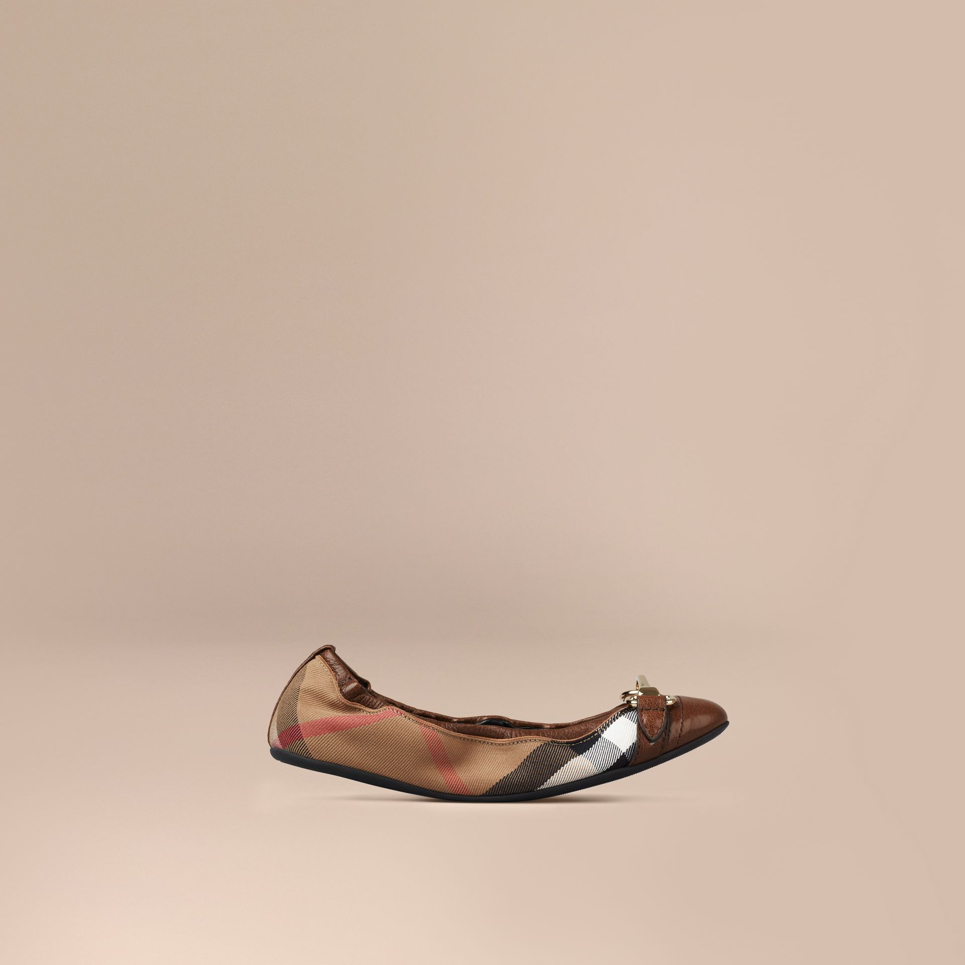 Dark tan Buckle Detail House Check Ballerinas Dark Tan - gallery image 1