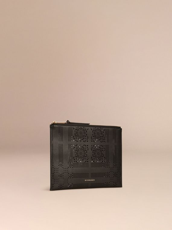 Black Extra-large Laser-cut Lace Leather Beauty Wallet - cell image 2