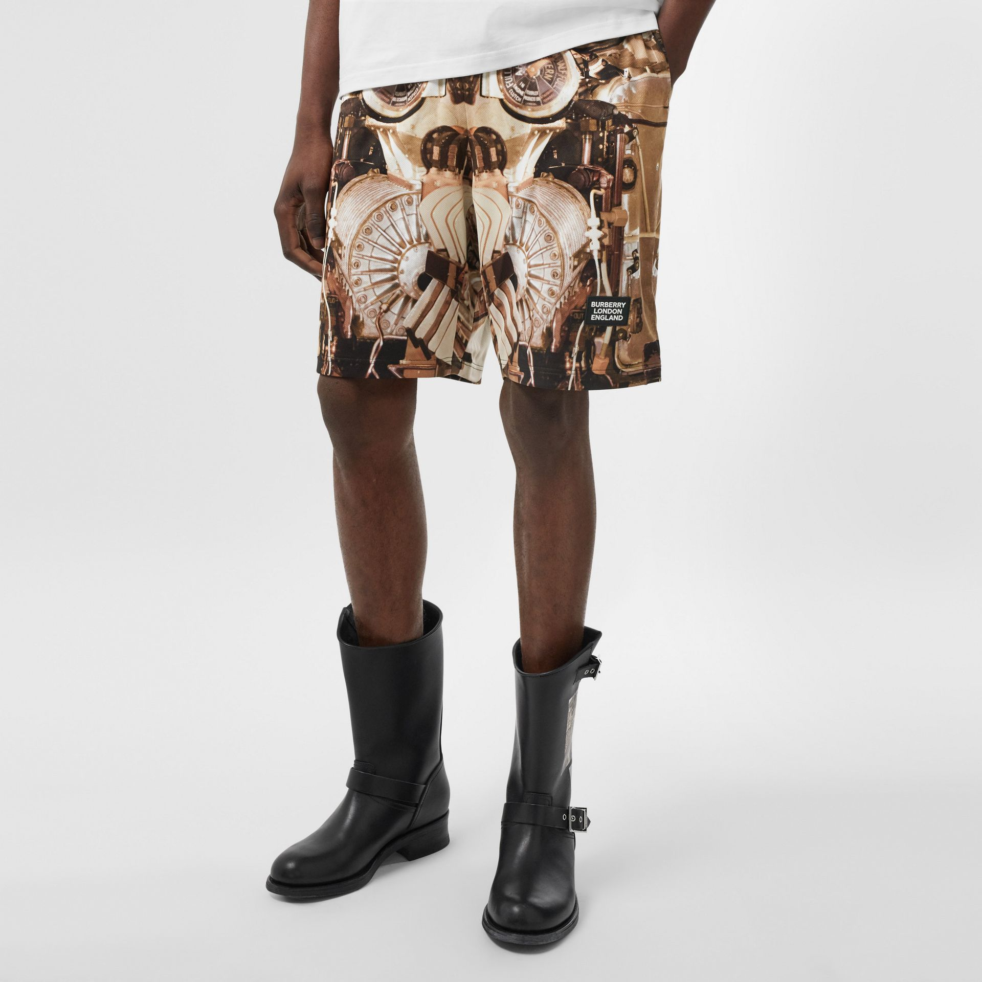 Submarine Print Mesh Shorts in Bronze - Men | Burberry - gallery image 4