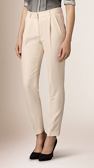 Slim Fit Silk Trousers