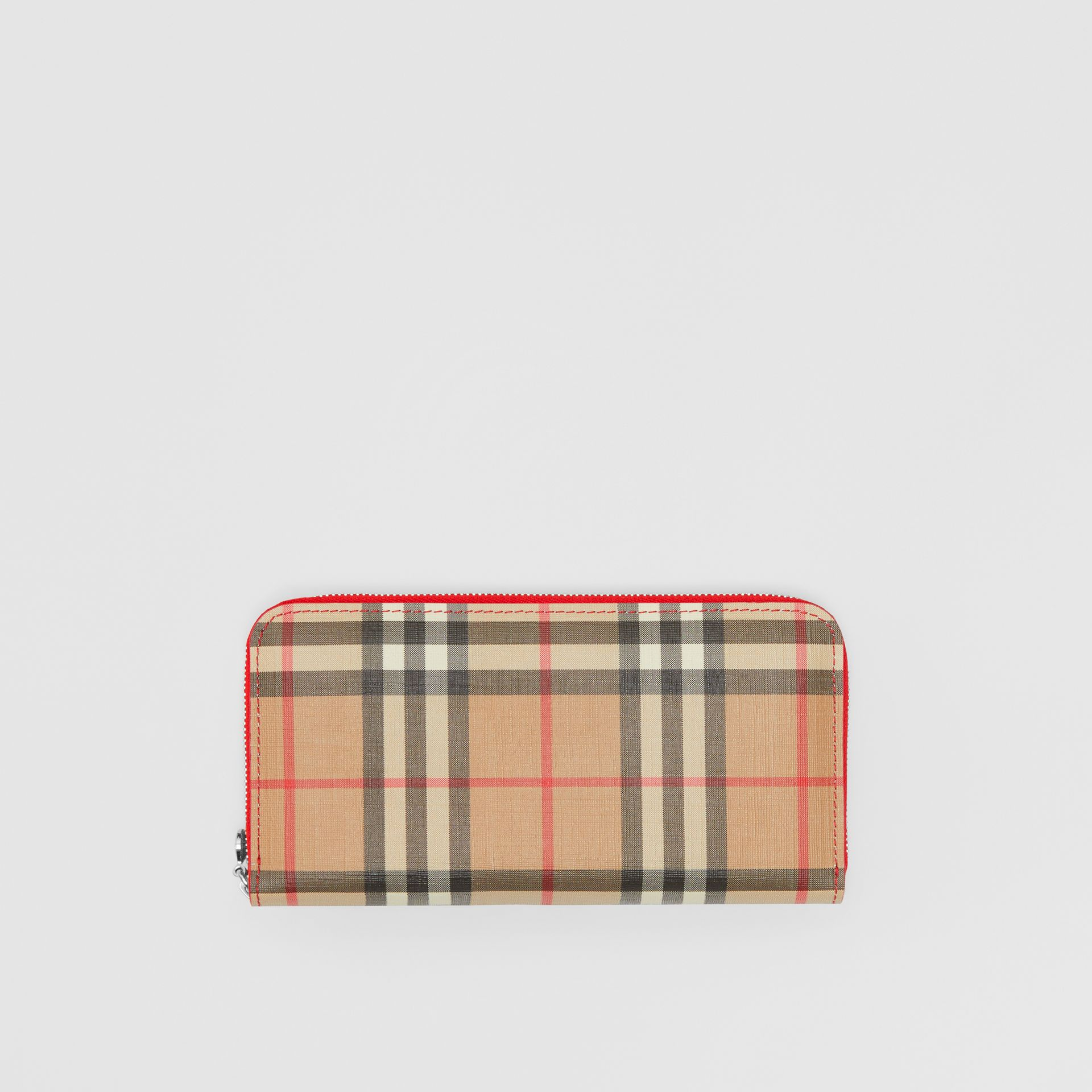 Vintage Check and Leather Ziparound Wallet in Bright Military Red - Women | Burberry Singapore - gallery image 0