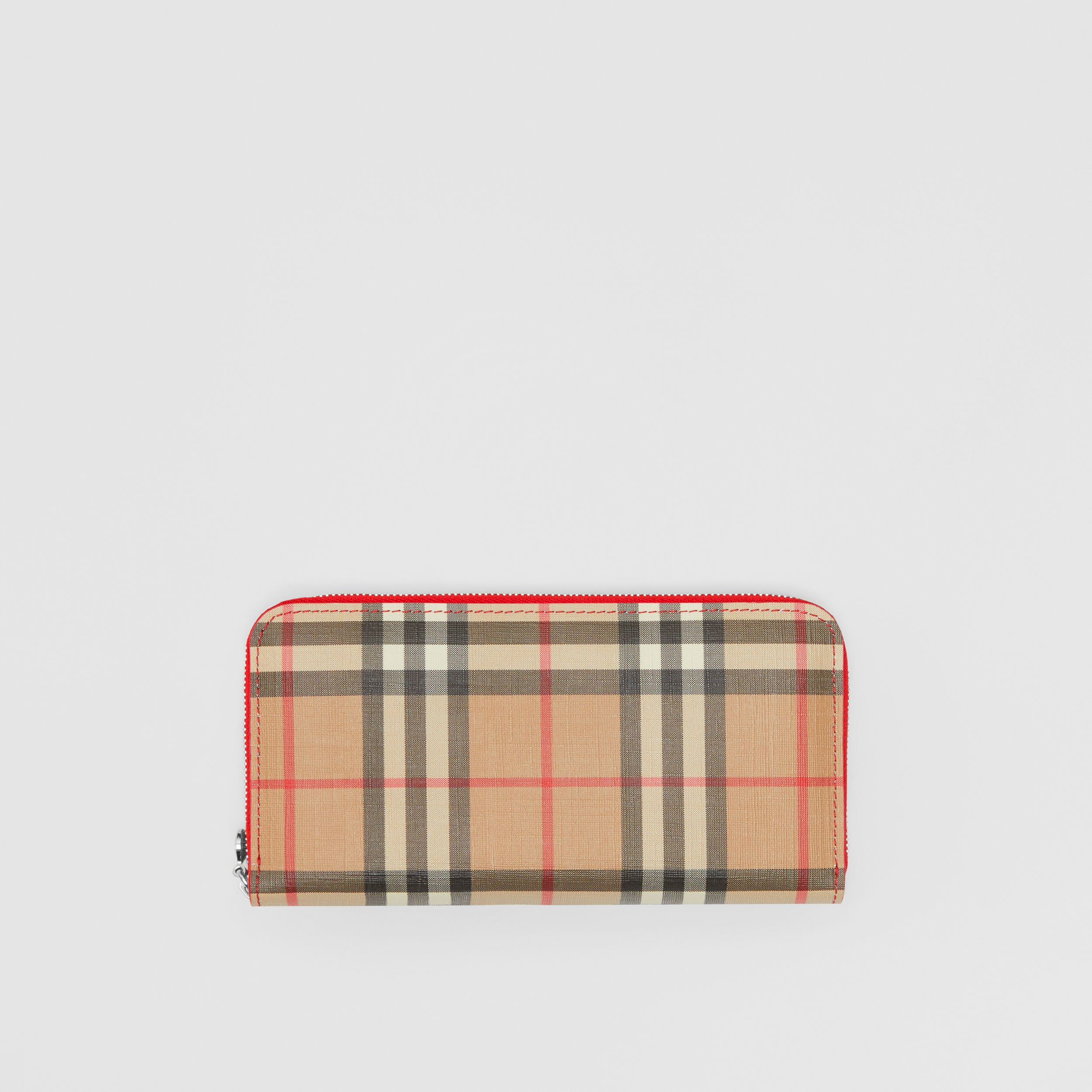 Vintage Check and Leather Ziparound Wallet in Bright Military Red - Women | Burberry Singapore - 1