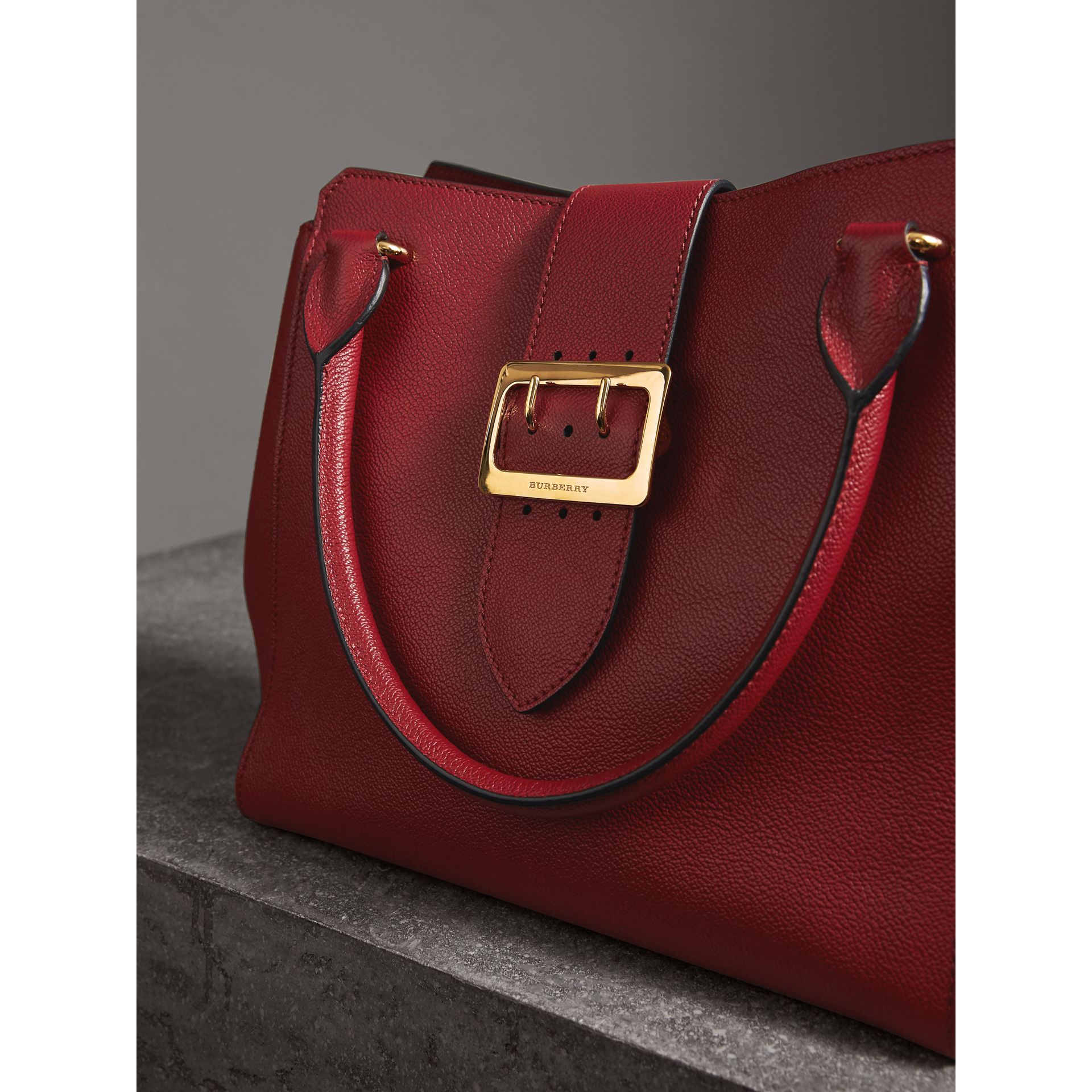The Medium Buckle Tote in Grainy Leather in Parade Red - Women | Burberry Australia - gallery image 6