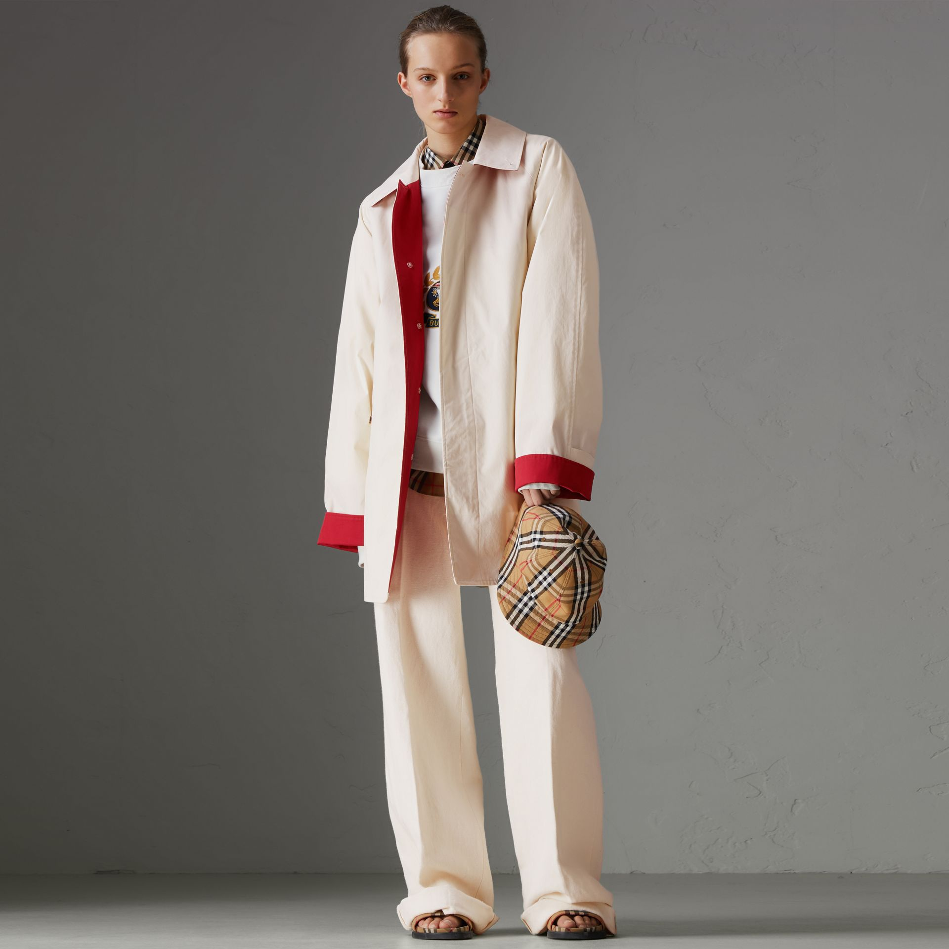 Reissued Waxed Cotton Gabardine Car Coat in Pale Stone - Women | Burberry Australia - gallery image 0