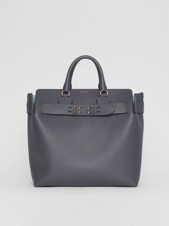 The Large Leather Belt Bag in Charcoal Grey