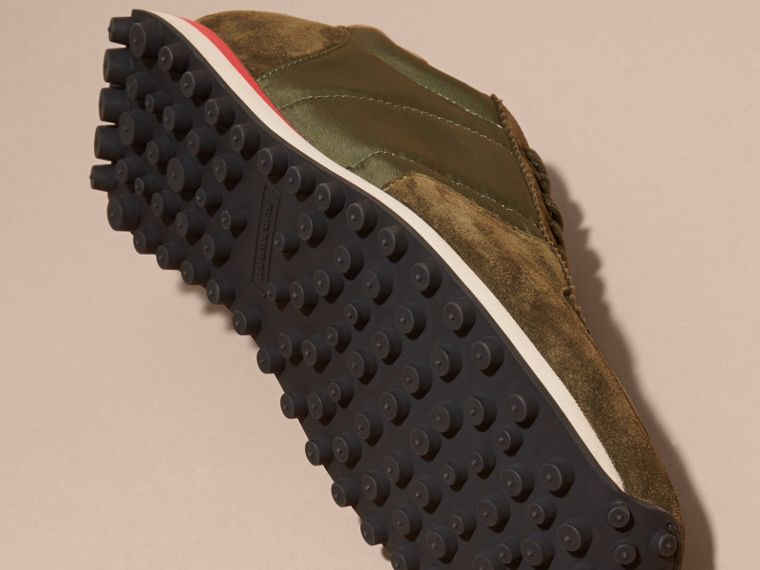 House Check Trim Suede and Technical Satin Sneakers in Olive Green - cell image 4