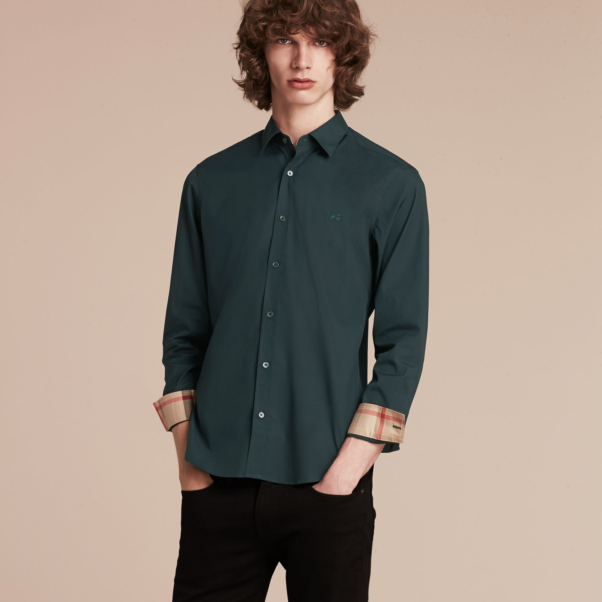 Check Detail Stretch Cotton Poplin Shirt in Dark Teal Green - gallery image 6