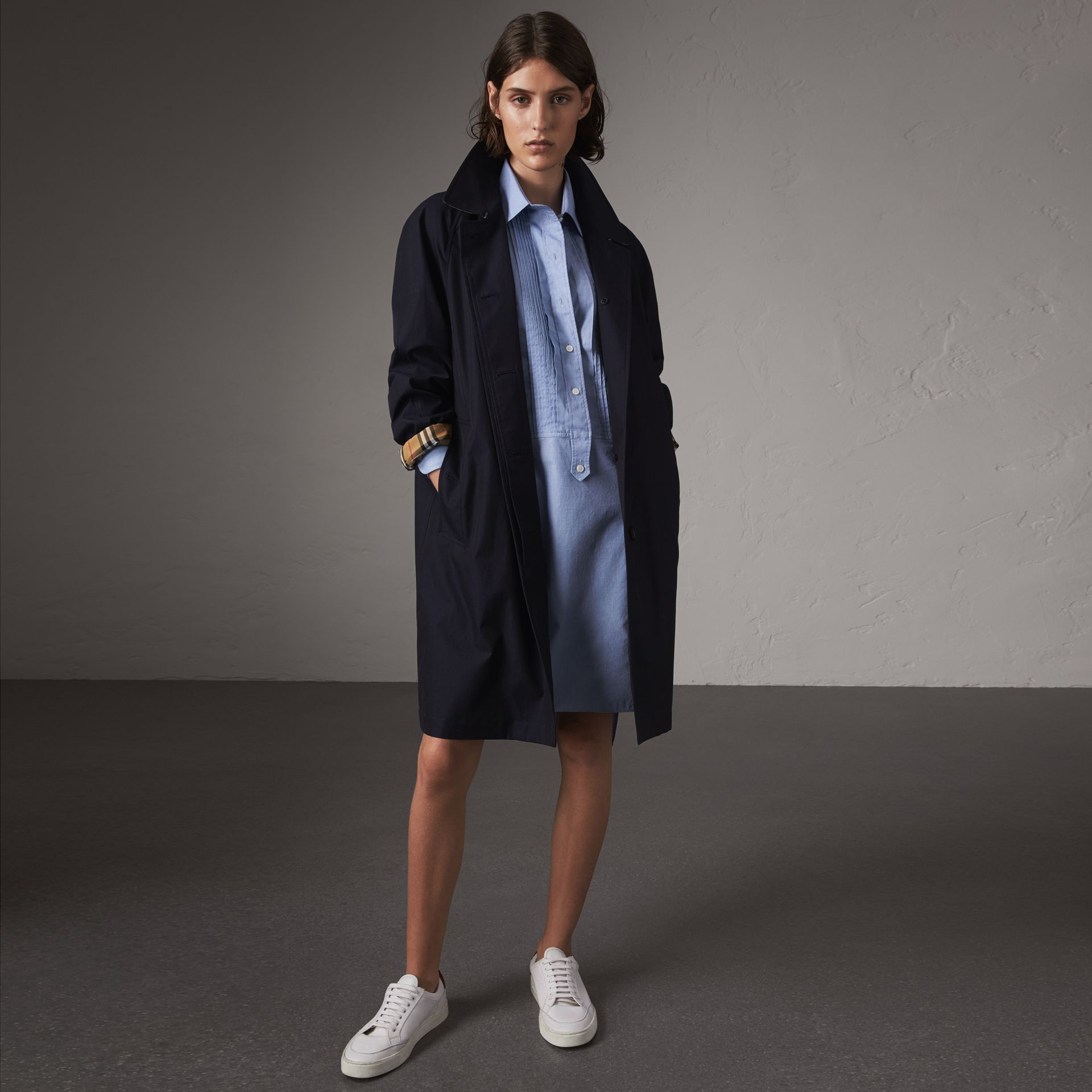 The Camden – Long Car Coat in Blue Carbon - Women | Burberry - gallery image 0