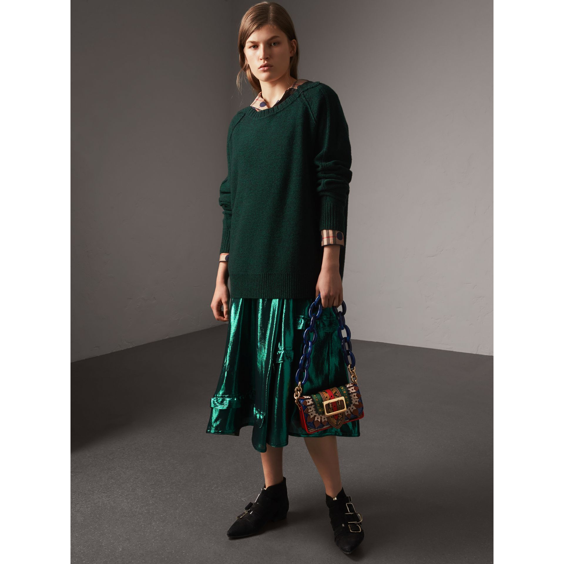 Melange Wool Sweater in Dark Forest Green - Women | Burberry - gallery image 5