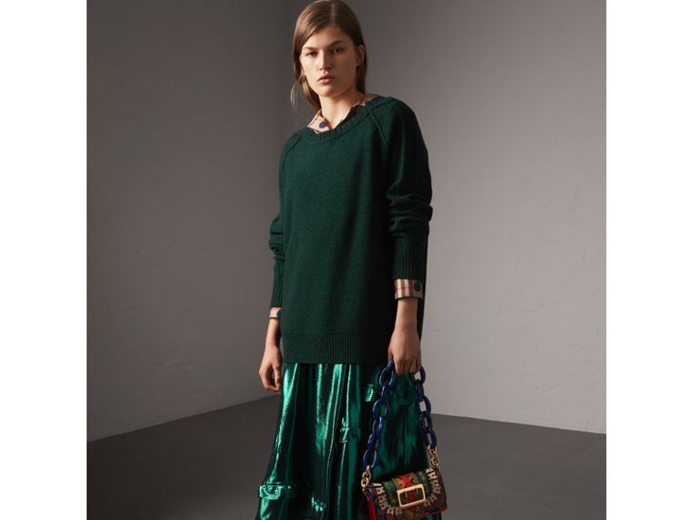 Melange Wool Sweater in Dark Forest Green - Women | Burberry - cell image 4