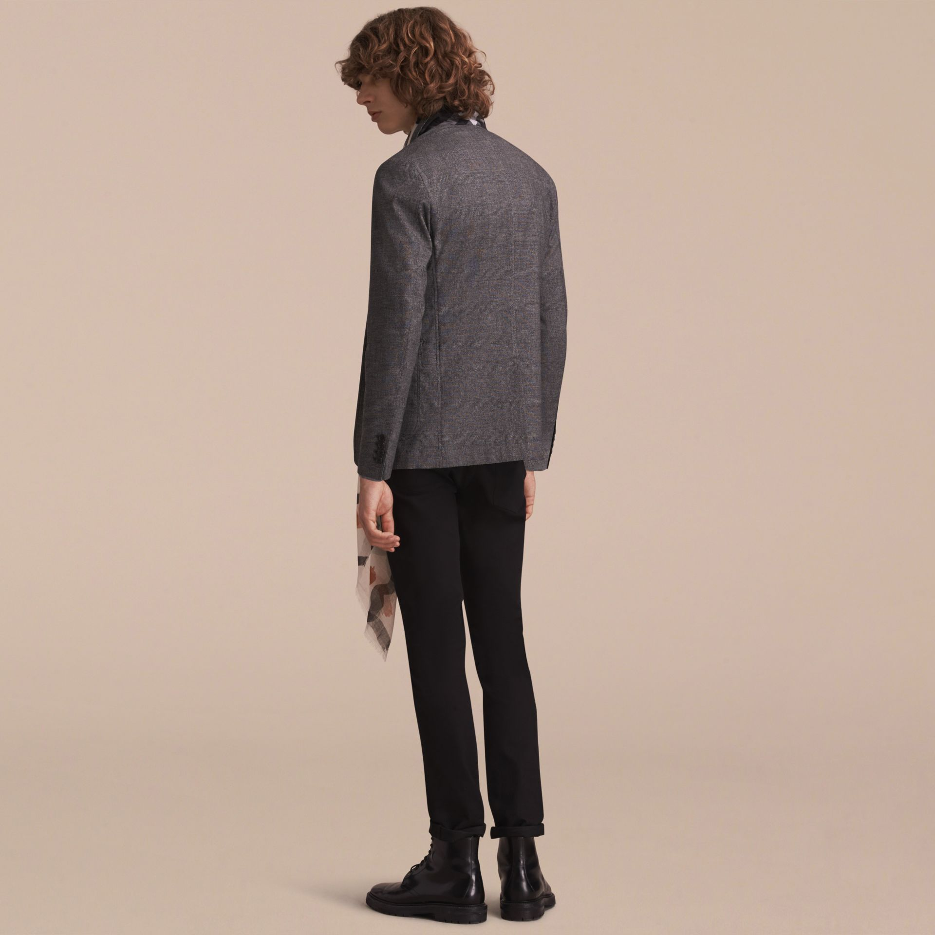 Prince of Wales Cotton Wool Blend Blazer - gallery image 3
