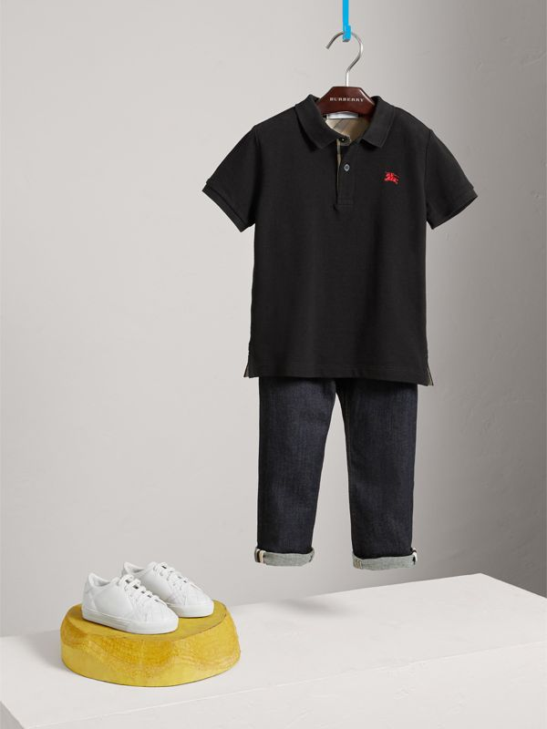 Check Placket Polo Shirt in Black - Boy | Burberry - cell image 2