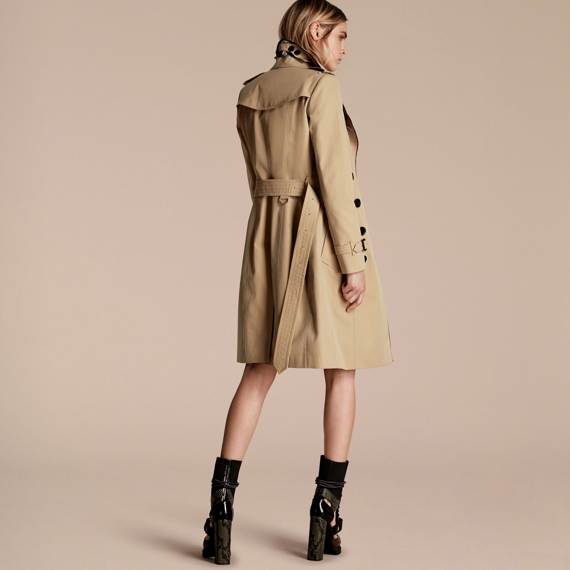 Honey Cotton Gabardine Trench Coat with Regimental Piping - gallery image 3