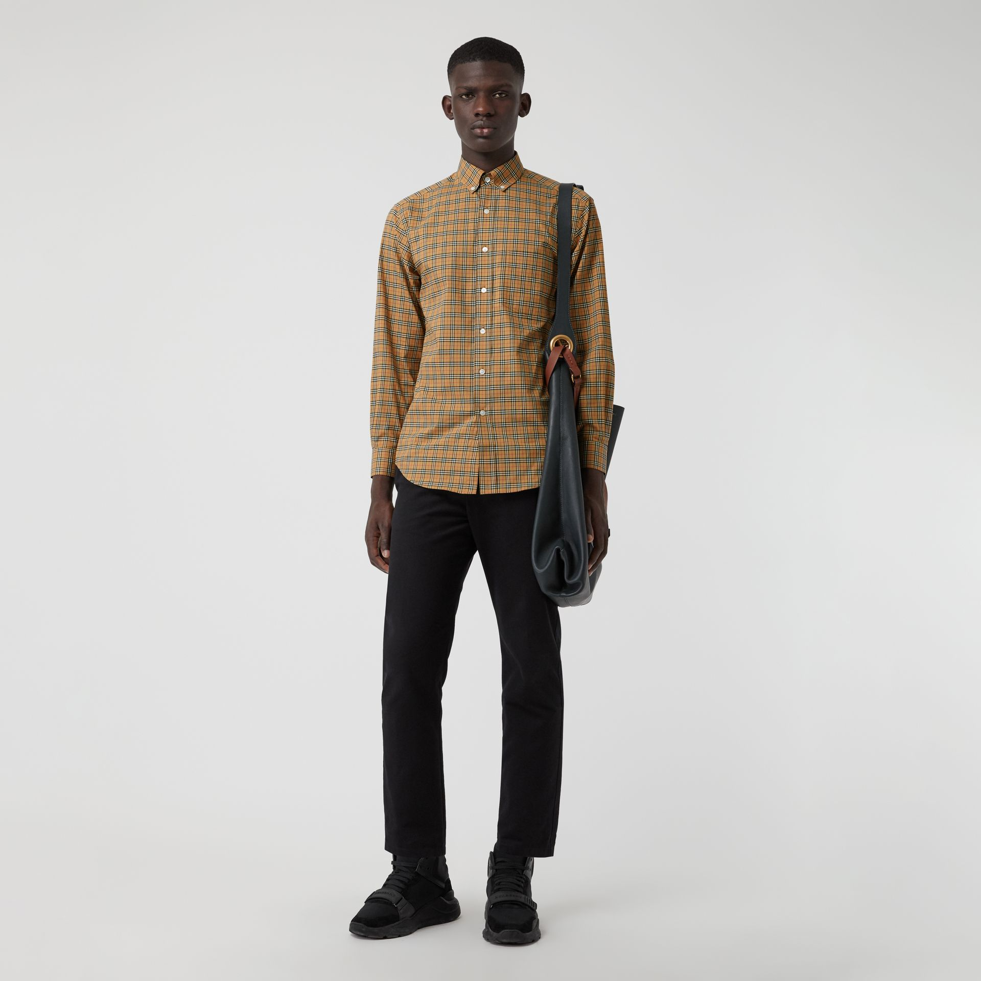 Small Scale Check Cotton Shirt in Antique Yellow - Men | Burberry Canada - gallery image 0