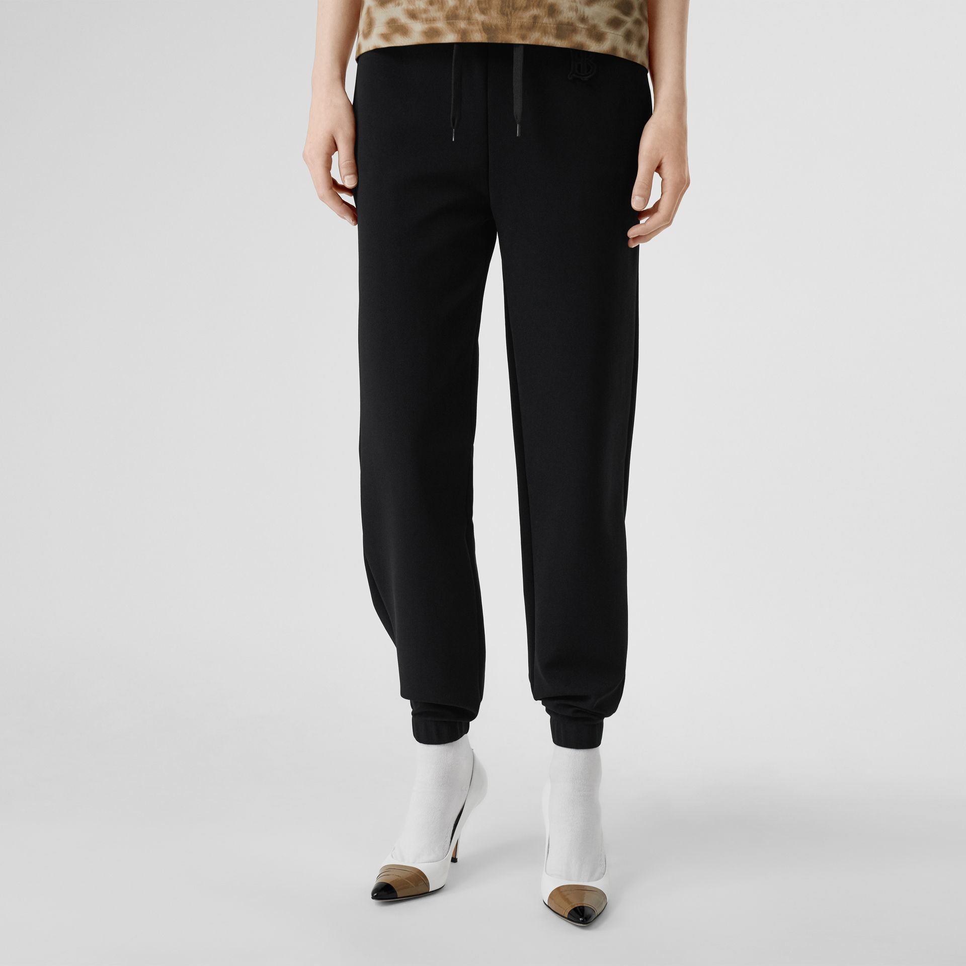 Monogram Motif Technical Trackpants in Black - Women | Burberry - gallery image 0