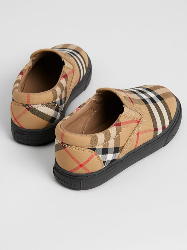 Vintage Check and Leather Slip-on Sneakers in Antique Yellow/black - Children | Burberry - cell image 2