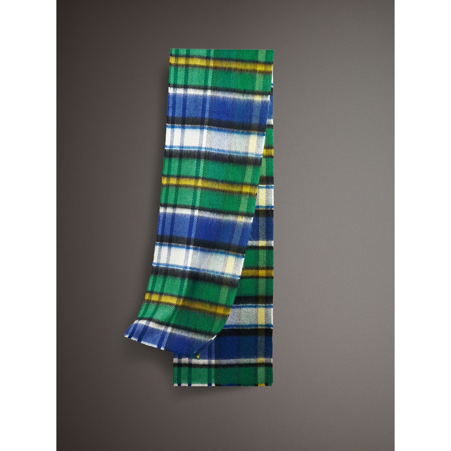 Long Check Wool Mohair Blend Scarf in Cobalt Blue | Burberry United Kingdom - gallery image 0