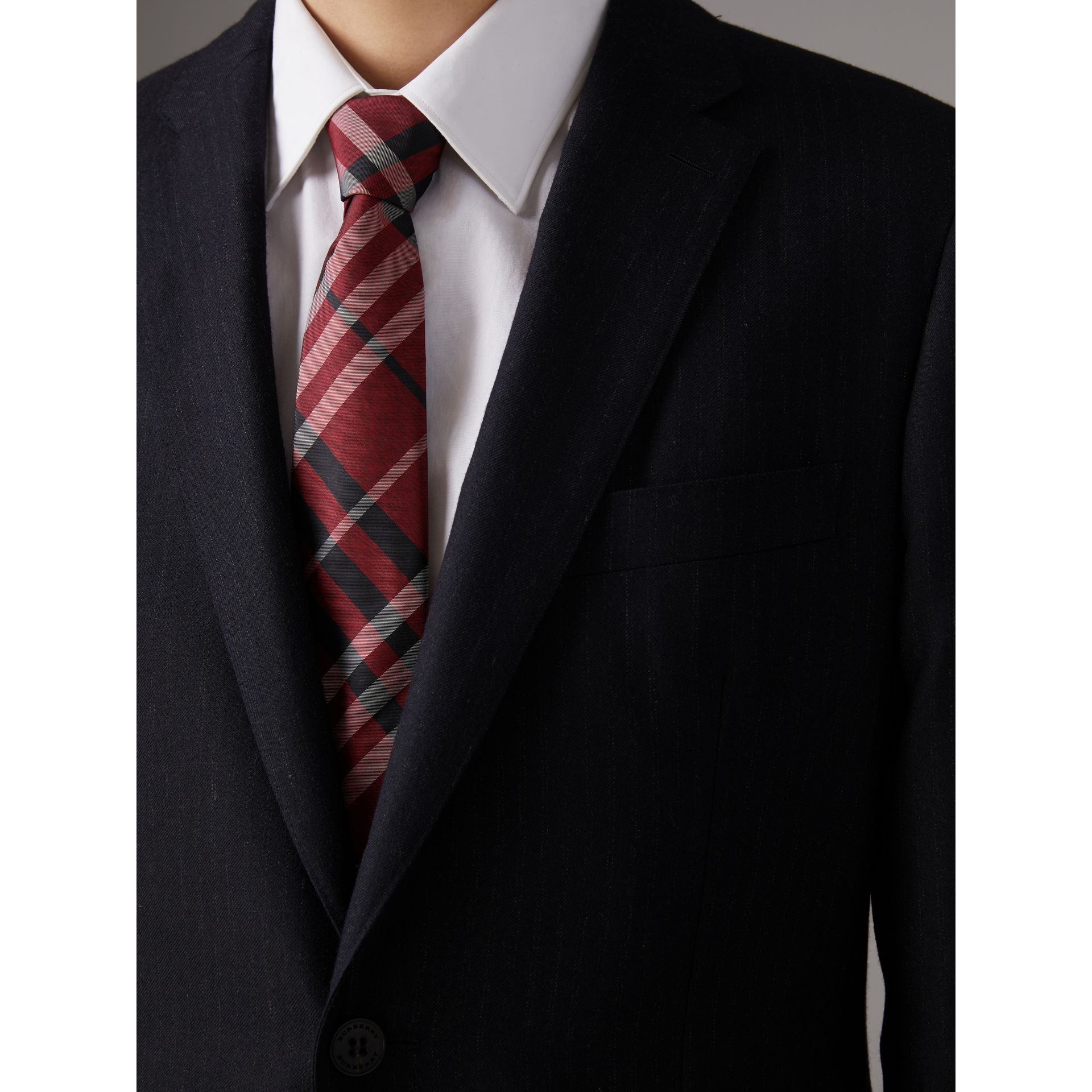 Modern Cut Check Silk Tie in Crimson Red - Men | Burberry United Kingdom - gallery image 3