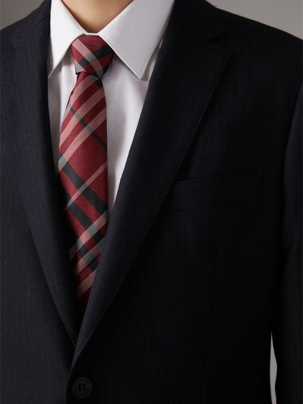Modern Cut Check Silk Tie in Crimson Red - Men | Burberry - cell image 2