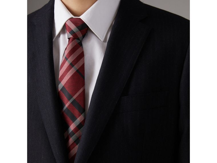 Modern Cut Check Silk Tie in Crimson Red - Men | Burberry United Kingdom - cell image 2