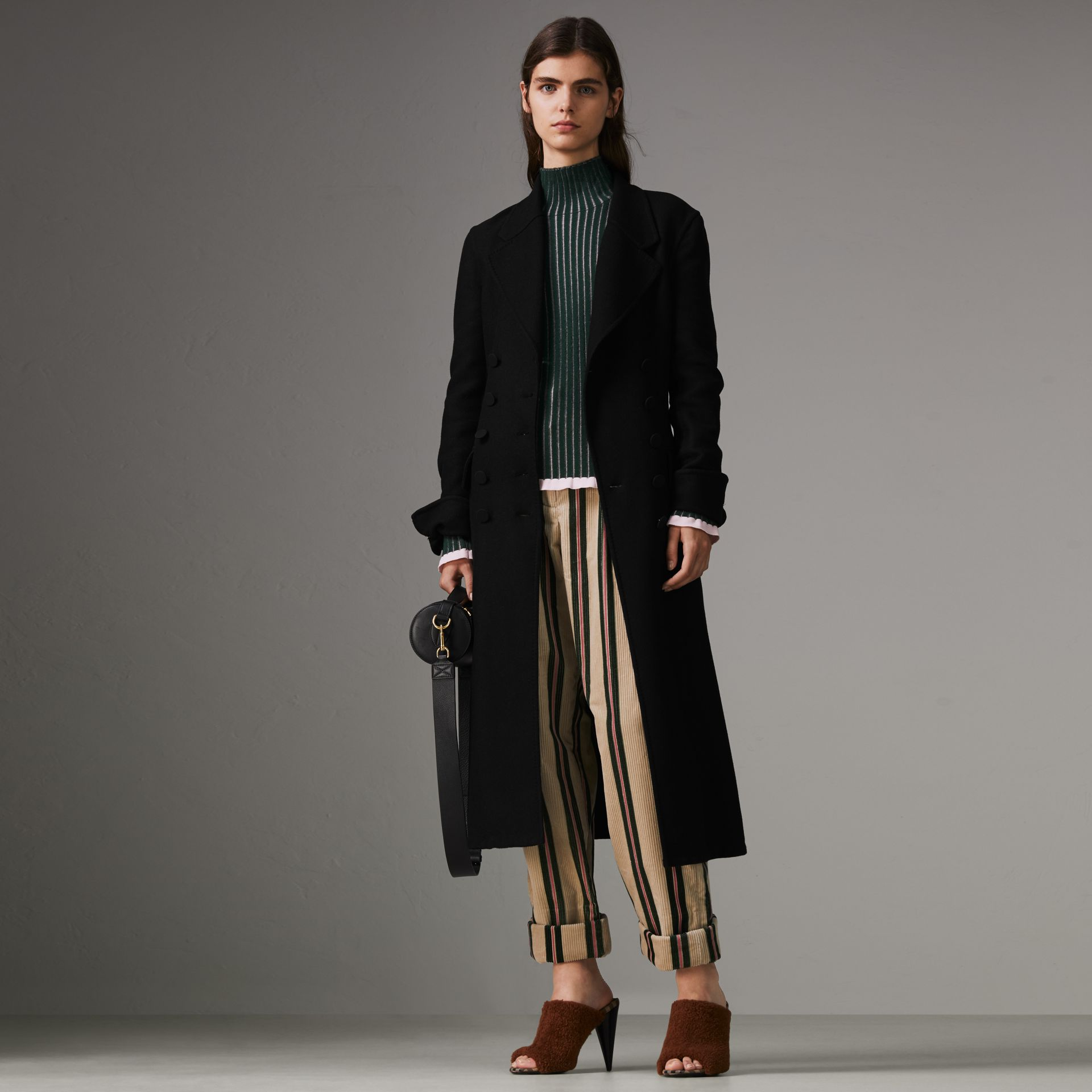 Roll-up Cuff Striped Corduroy Trousers in Stone - Women | Burberry - gallery image 0
