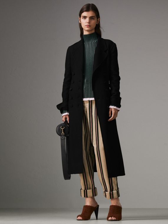 Roll-up Cuff Striped Corduroy Trousers in Stone