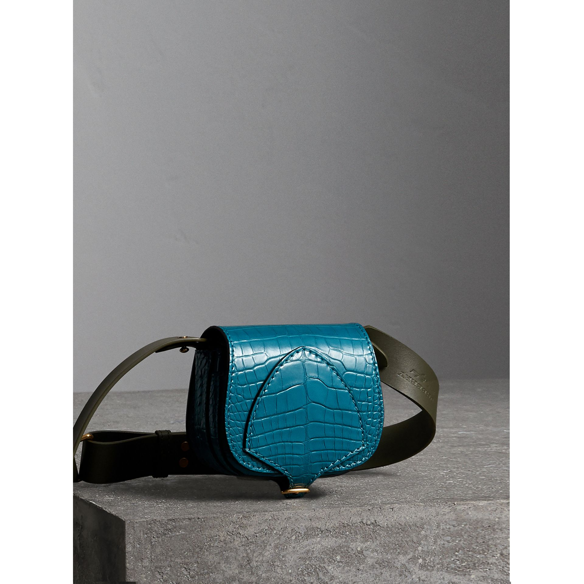 The Pocket Satchel in Alligator in Dark Teal - Women | Burberry - gallery image 7