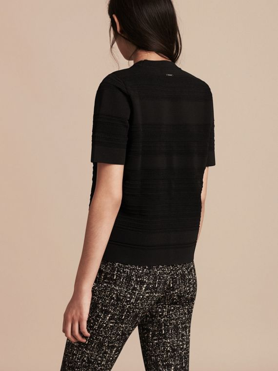 Black Short-sleeved Stitched Top - cell image 2