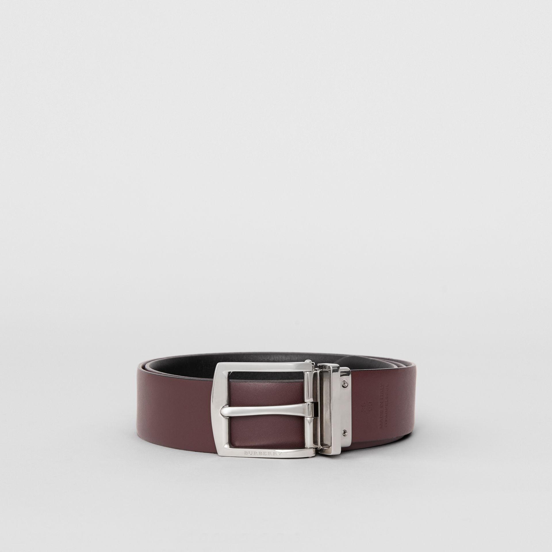 Reversible Leather Belt in Black - Men | Burberry - gallery image 6