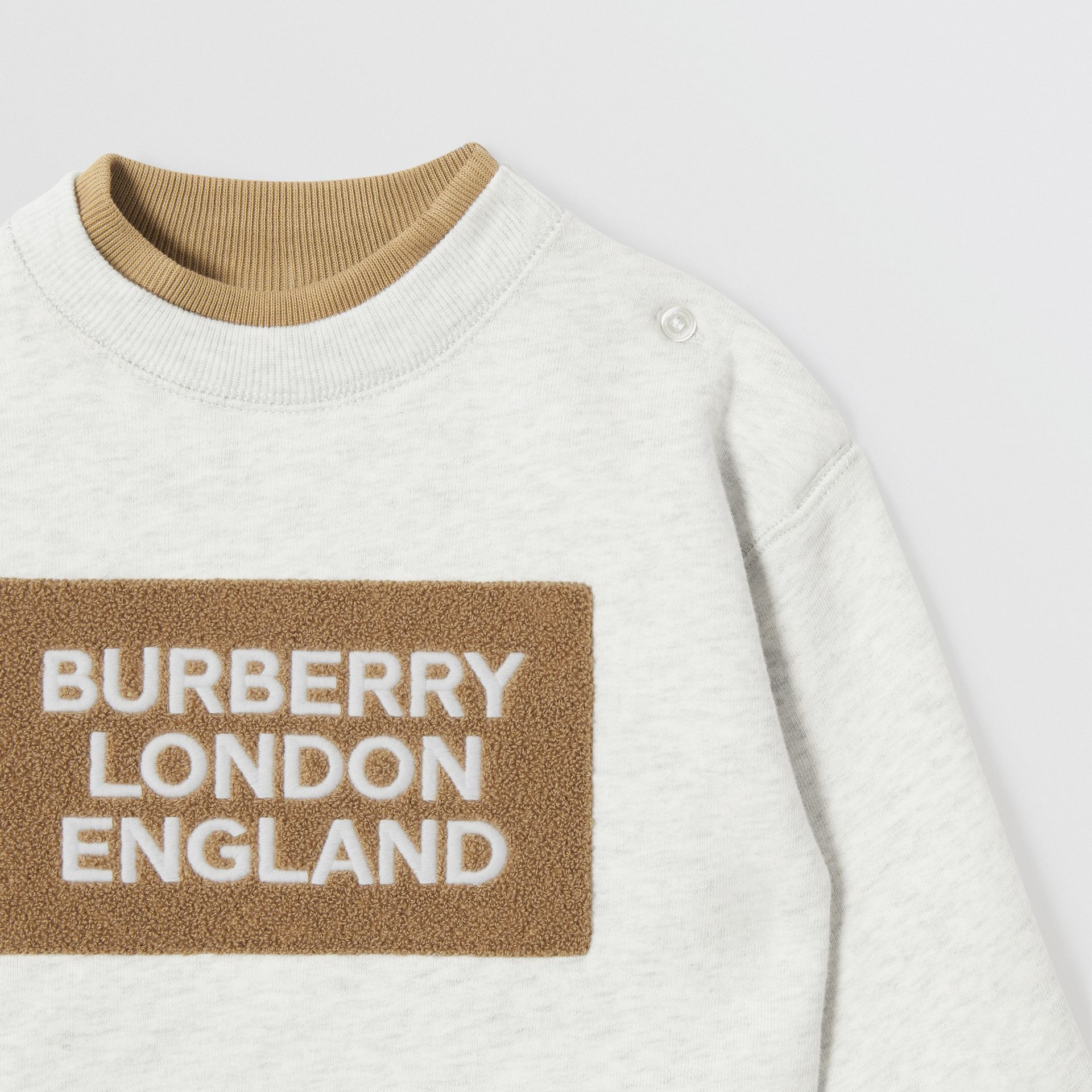 Logo Detail Jersey Sweater Dress in White Melange - Children | Burberry - gallery image 4