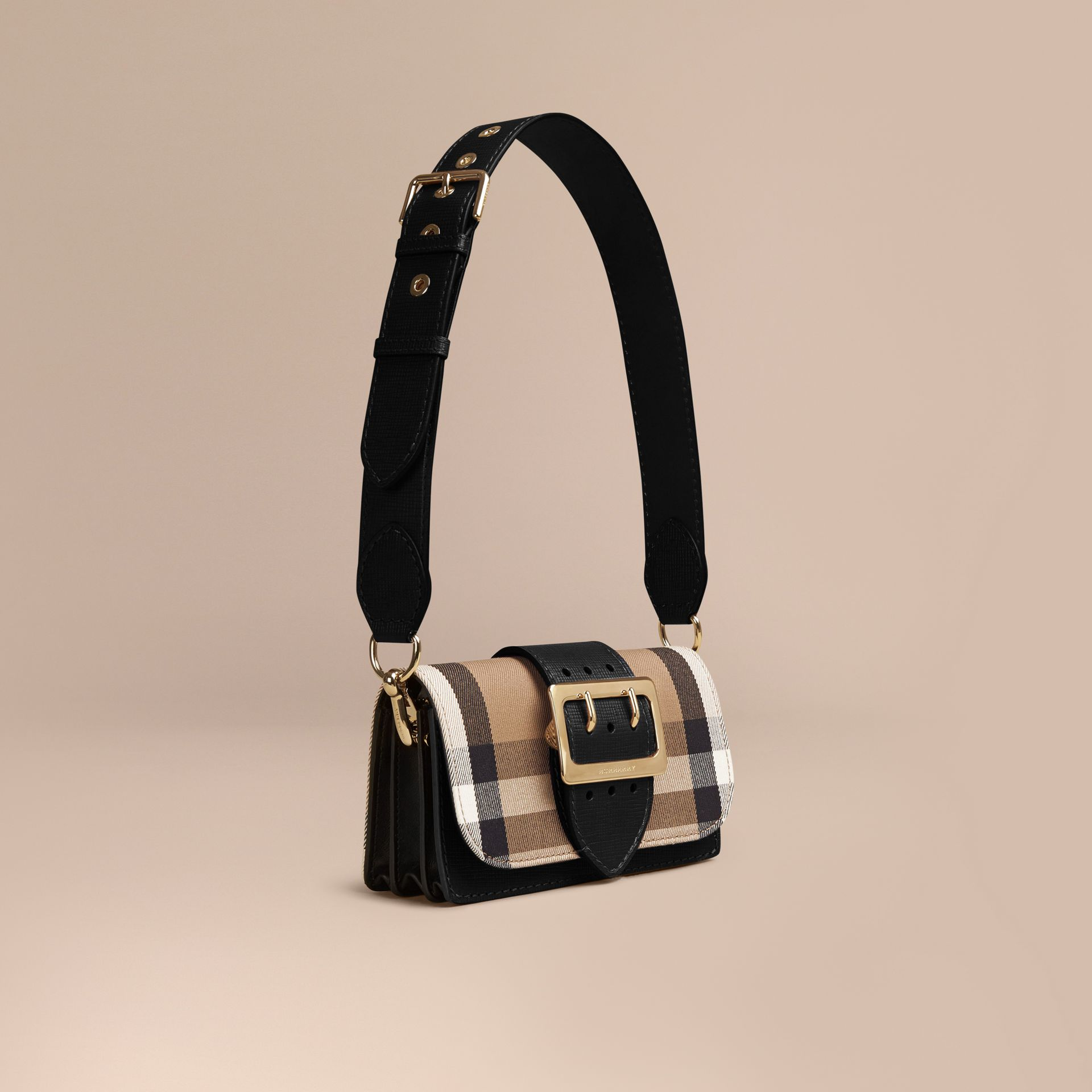 The Small Buckle Bag in House Check and Leather in Black - gallery image 1